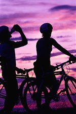 Preview iPhone wallpaper Cyclists, bikes, sunset, silhouette