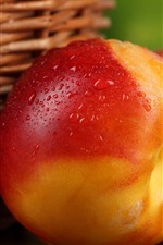 Preview iPhone wallpaper Delicious nectarine, peach, water droplets