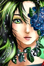 Preview iPhone wallpaper Fantasy girl, green hair, flowers