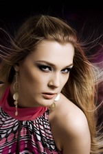 Preview iPhone wallpaper Fashion girl, hair style, earring, light pink background