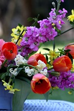 Preview iPhone wallpaper Flowers, gerberas, pink flowers, tulips, basket