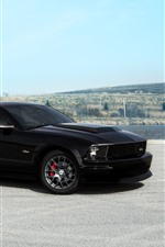 Preview iPhone wallpaper Ford Mustang GT black supercar side view
