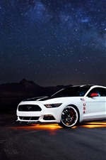 Preview iPhone wallpaper Ford Mustang white car side view, night, starry