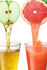 Preview iPhone wallpaper Four cups juice, colorful, orange, apple, tomato