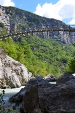 Preview iPhone wallpaper France, Gorges du Verdon, bridge, river, rocks