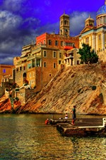 Preview iPhone wallpaper Greece, city, river, pier, flag, houses