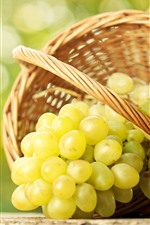 Preview iPhone wallpaper Green grapes, basket, glare