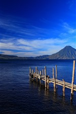 Preview iPhone wallpaper Guatemala, island, mountains, sea, dock