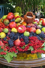 Preview iPhone wallpaper Harvest, apples, berries, pears, plums, many fruits