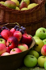 Preview iPhone wallpaper Harvest, green and red apples, grapes, water droplets, fruits