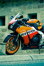 Preview iPhone wallpaper Honda CBR motorcycle, street
