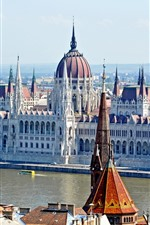Preview iPhone wallpaper Hungary, Budapest, city, buildings, river