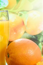 Preview iPhone wallpaper Juice, oranges, glass cup, glare