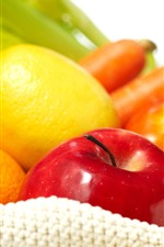 Preview iPhone wallpaper Lemon, apple, tomato, orange