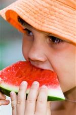 Preview iPhone wallpaper Little girl eat watermelon