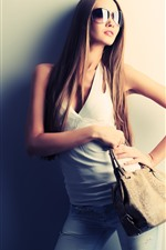 Preview iPhone wallpaper Long hair fashion girl, sunglasses, handbag