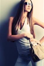Long hair fashion girl, sunglasses, handbag