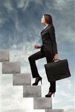 Preview iPhone wallpaper Long hair girl, career, handbag, stairs, clouds, sky, creative picture