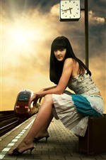 Preview iPhone wallpaper Long hair girl, rail station, suitcase, clock, tram