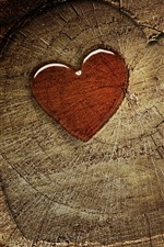 Preview iPhone wallpaper Love heart, stump, texture
