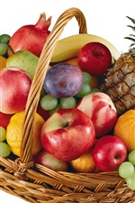 Preview iPhone wallpaper Many different fruits, apples, peach, grapes, pineapple, oranges, basket