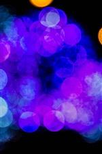 Many light circles, blue, purple, orange