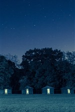 Preview iPhone wallpaper Night, huts, trees, starry, sky