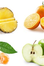 Oranges, apples, pineapple, white background