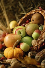 Preview iPhone wallpaper Pears, apples, grapes, fruit, basket