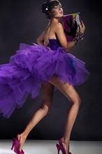 Preview iPhone wallpaper Purple skirt girl, legs, sexy, handbag