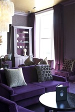 Preview iPhone wallpaper Purple style living room, sofa, lights, windows