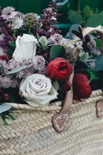 Preview iPhone wallpaper Red and white roses, colorful flowers, basket