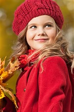 Preview iPhone wallpaper Red coat girl, smile, hat, maple leaves