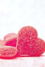 Preview iPhone wallpaper Red love heart candy