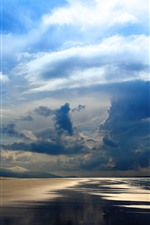 Preview iPhone wallpaper Sea, beach, coast, sky, thick clouds, sun rays