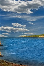 Preview iPhone wallpaper Sea, boat, coast, sky, clouds