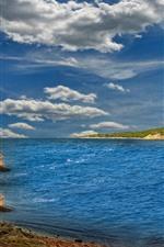 Sea, boat, coast, sky, clouds
