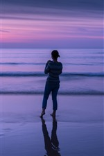 Preview iPhone wallpaper Sea, dusk, girl back view