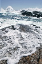 Preview iPhone wallpaper Sea, rocks, foam, water splash