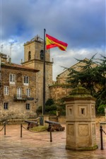 Preview iPhone wallpaper Spain, square, city, houses, flag, clouds