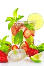 iPhone壁紙のプレビュー 夏の飲み物、レモン、イチゴ、ミントの葉、アイスキューブ、白い背景