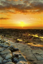 Preview iPhone wallpaper Sunset, sea, rocks, dusk, coast
