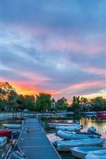 Preview iPhone wallpaper Switzerland, Geneva, pier, boats