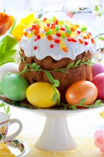Preview iPhone wallpaper Tulips, cake, colorful eggs, Easter, cups, twigs, spring