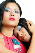 Preview iPhone wallpaper Two asian girls, colorful makeup