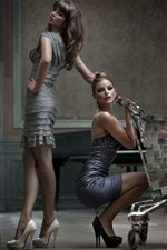 Preview iPhone wallpaper Two fashion girls, cart