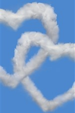 Two love heart, clouds, blue sky