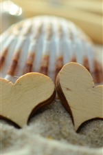 Preview iPhone wallpaper Two love hearts, sands, shell