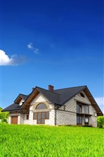 Preview iPhone wallpaper Windmill, house, green grass, blue sky, clouds, summer