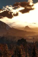 Vorschau des iPhone Hintergrundbilder Schöne Naturlandschaft, Sonnenuntergang, Bäume, Berge, Vögel, Wolken
